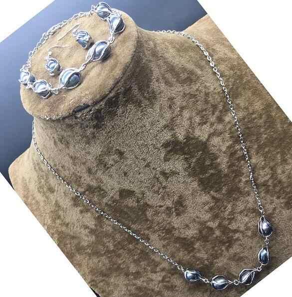 สีดำธรรมชาติน้ำจืด Pearl Cage Link Chain สร้อยคอสร้อยข้อมือต่างหูชุด