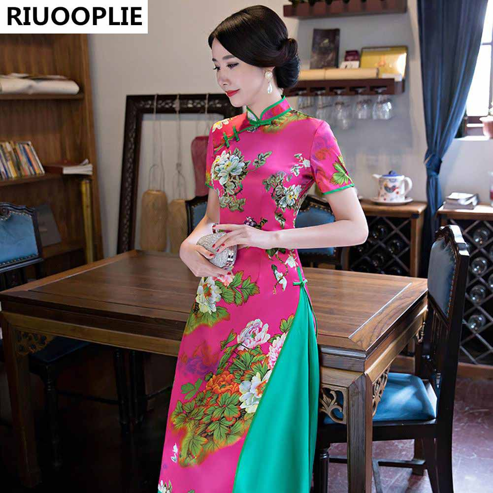 RIUOOPLIE Hinese Style Dress Femme Jupe Qipao Jacquard Robe De - Vêtements nationaux - Photo 1