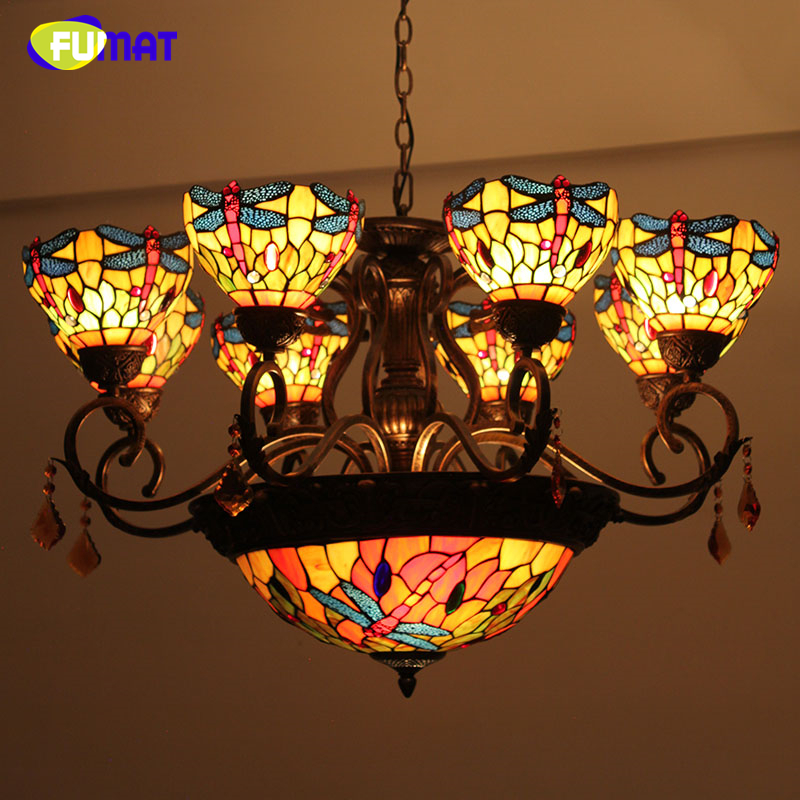 FUMAT Vintage Tiffany lights Creative American Art Dragonfly Chandeliers Lobby Mall Living Room Stained Glass LED Chandelier vintage clothing store personalized art chandelier chandelier edison the heavenly maids scatter blossoms tiny cages