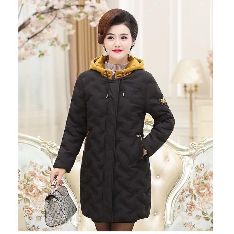 année Noir Casual Hiver Mode De Manteau marron Capuchon Moyen 50 vieux Femmes Pd28051 D'âge Nouveau Chaud À Veste orange 2018 76gyYIbvmf