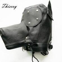 Thierry Ultimate Deri Köpek Hood namlu, gag, kulaklar, körü körüne, fermuar ağız sunuyor görsel ve fonksiyonel itiraz köpek oyun