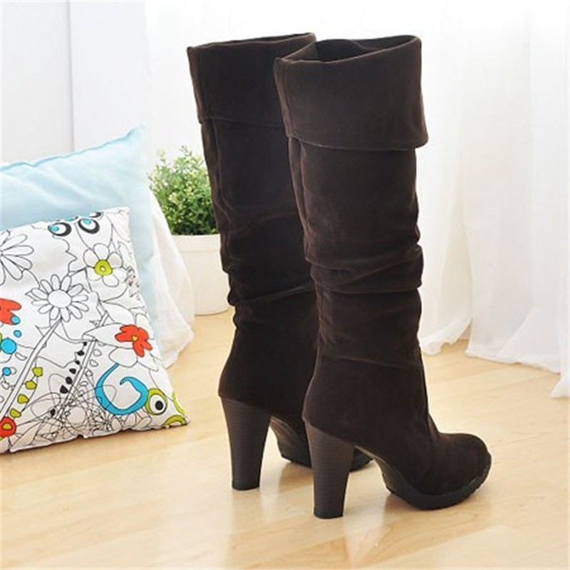42e2d5fe277 ENMAYER Fashion High Heel Boots Women Lady Over Knee Platform Dropship  Winter Round Toe Shoes Women Big Size 34 41 Long Boots-in Knee-High Boots  from ...
