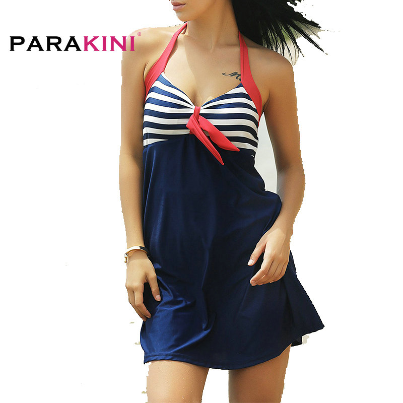 PARAKINI Women One Piece Swimsuit Dress 2017 Sexy Stripe Padded Halter Swimwear Skirt Beachwear Bathing Suit Plus Large Size 3XL trendy solid color halter pleated one piece skirt swimwear for women