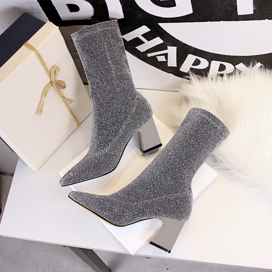 Detail Feedback Questions about Women s Glitter Knit Pointed Toe Booties  Stretch Knit Shaft Ankle Glitter Toe Cap Bootie 2018 Square Heel Ankle Boots  Pull ... 1af25056179b
