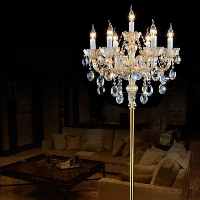 7 arms champagne crystal floor lamp modern Led wedding candlestick living room floor lamps bedroom bedside floor light Lambader
