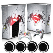 Batman & Super Man Benutzerdefinierte Haut Host Vinyl Protective Matte Aufkleber & 2 gamepad decals + 4x caps für xbox 360 slim konsole(China)