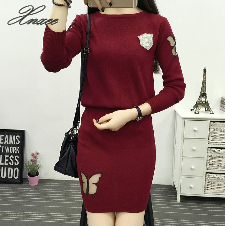Xnxee 2019 Winter Knit Women 2 pcs Set Sweater Warm Pullover Dress Slim femme S 4XL in Pullovers from Women 39 s Clothing