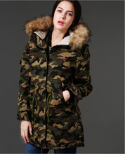Winter Jacket Women 201 Hooded Artificial Wool Collar Print Camouflage Medium And Long Cotton Parka Casual Slim Green Women Coat