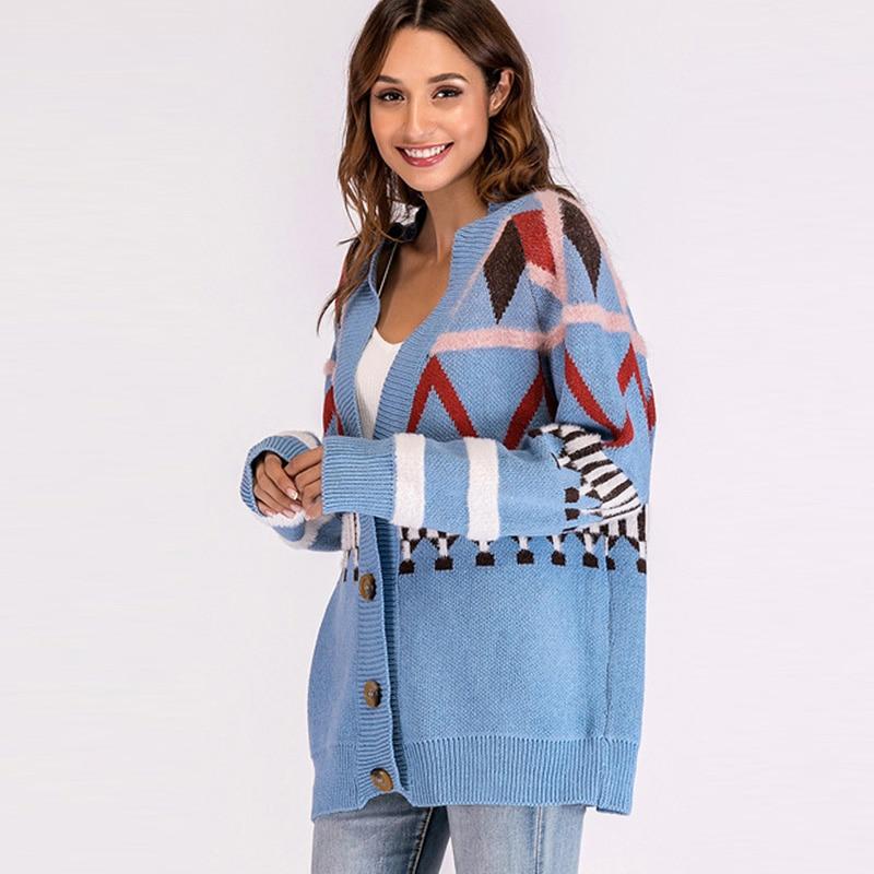 Front Blue Button Loose Fuzzy Long Cardigan Knit Geometric Fashion With Pattern Women Detail Tops Raglan Sleeve Qiuxuan Sweater qUvTF