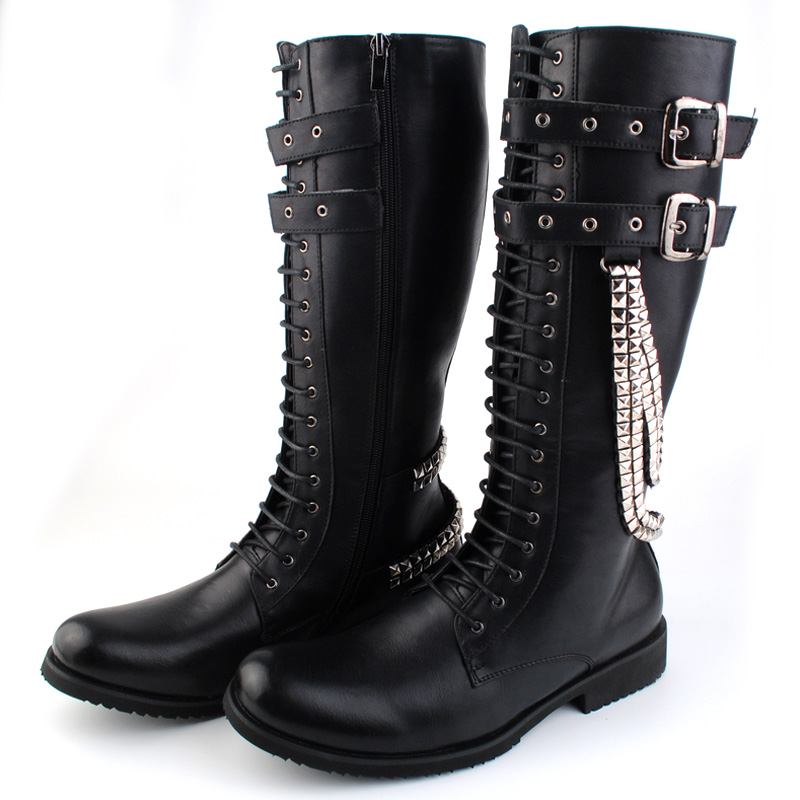 2d839afddc89 Fashion men punk knight male high boots rock western riding denim  motorcycle boots lightclub performance cosplay tall boots-in Motorcycle  boots from Shoes ...