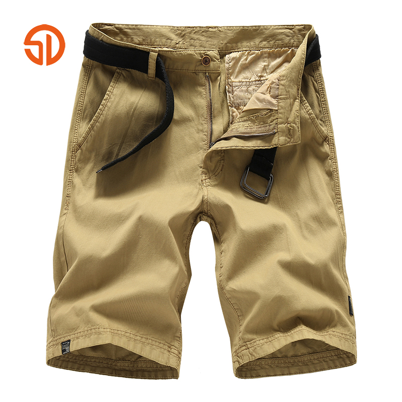 Fashon Solid Color Cargo Military Shorts Material For Summer Short Pants Short Mens Clothing Masculino Size 28-36 No Belt