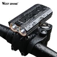 WEST BIKING MAX 2000LM Bike Light 2 XML T6 LED Headlight Built In 6000mAh Rechargeable Battery