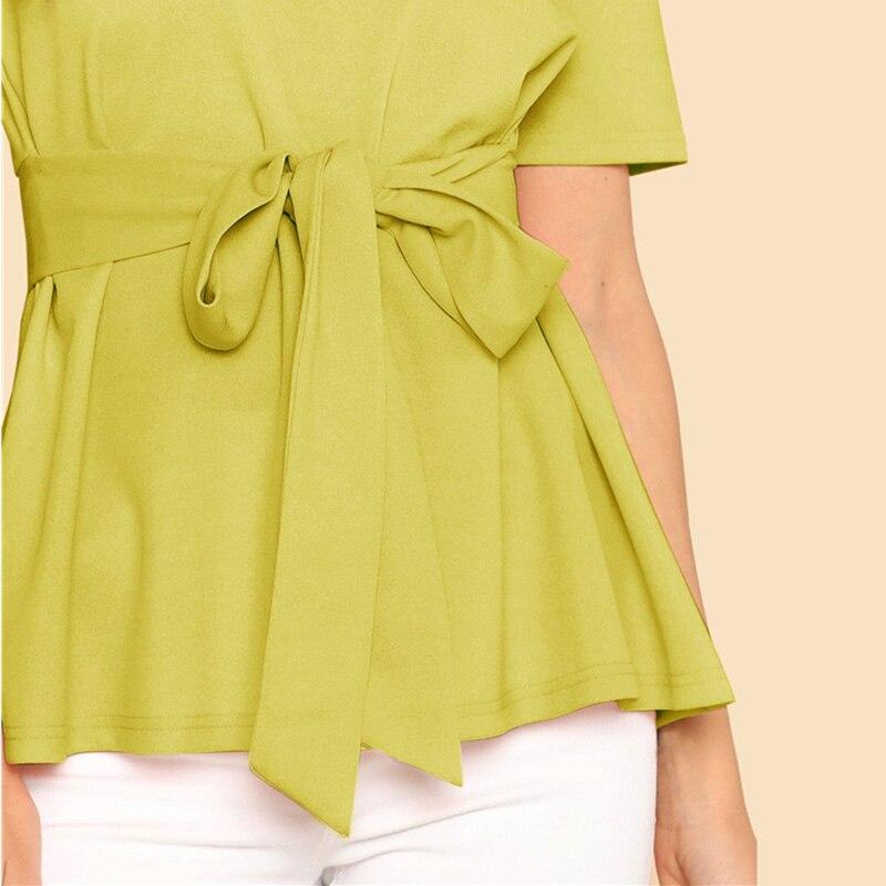 Sheinside Self Belt Keyhole Back Blouse Solid Short Sleeve Top 18 Summer Women Office Ladies Work Elegant Blouse 32