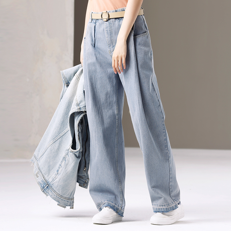 N6070 Korean version of pinched straight tube wide leg high waist jeans trousers