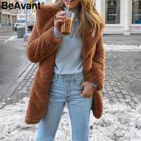 BeAvant Elegant long faux fur coat Women 2019 Autumn winter warm soft polar fleece coat Female casual luxury plush coat outwear