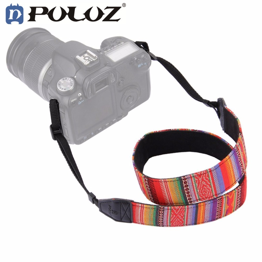 PULUZ Vintage Colorful National Style Durable Soft DSLR Camera Neck Shoulder Strap Transverse Stripe Adjustable Belt