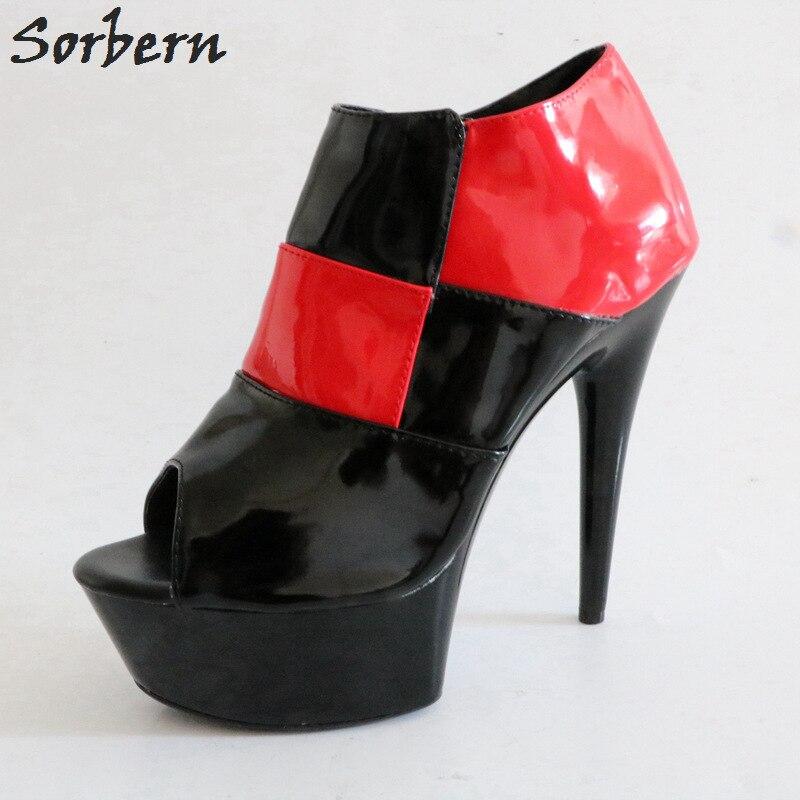 2463f677cd2bf Sorbern Black And Red Women Pumps Peep Toe High Heels Platform Heels Womens  Shoes Fetish High Heels Pump Spring Designer Heels