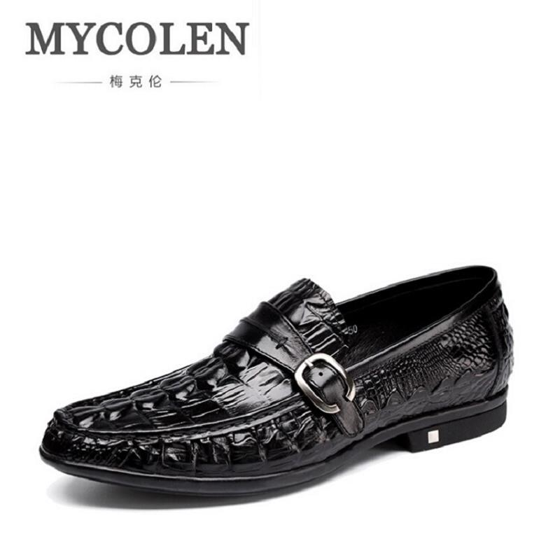 MYCOLEN Fashion Style Men Causal Shoes Genuine Leather Slip On Men Dress Shoes Cowhide Comfort Business Shoes Zapatos Hombre 2017 men shoes fashion genuine leather oxfords shoes men s flats lace up men dress shoes spring autumn hombre wedding sapatos