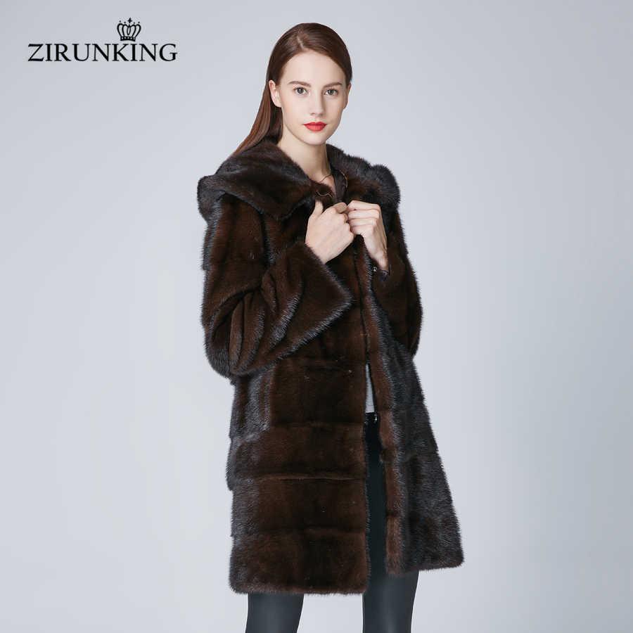 f7754a090f7 ZIRUNKING с капюшоном Для женщин реального норки женское меховое пальто  теплая зима Природный Rea меховые парки