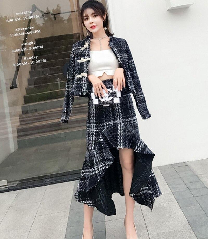 Veste Ensemble Tweed D'hiver Black Longues Piste Élégant De Designer Ruches Manteau 2 Qualité Asymétrie Femmes Pièces Costume Et Haute Arc Jupe kXO8n0wPN