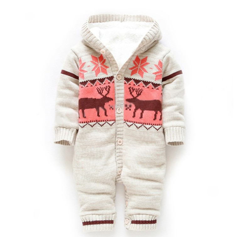 ФОТО Christmas Elk Baby Boy Winter Clothes Thickening Baby Rompers Cartoon Baby Girl Coverall Hooded Infant Clothing Newborn Costume