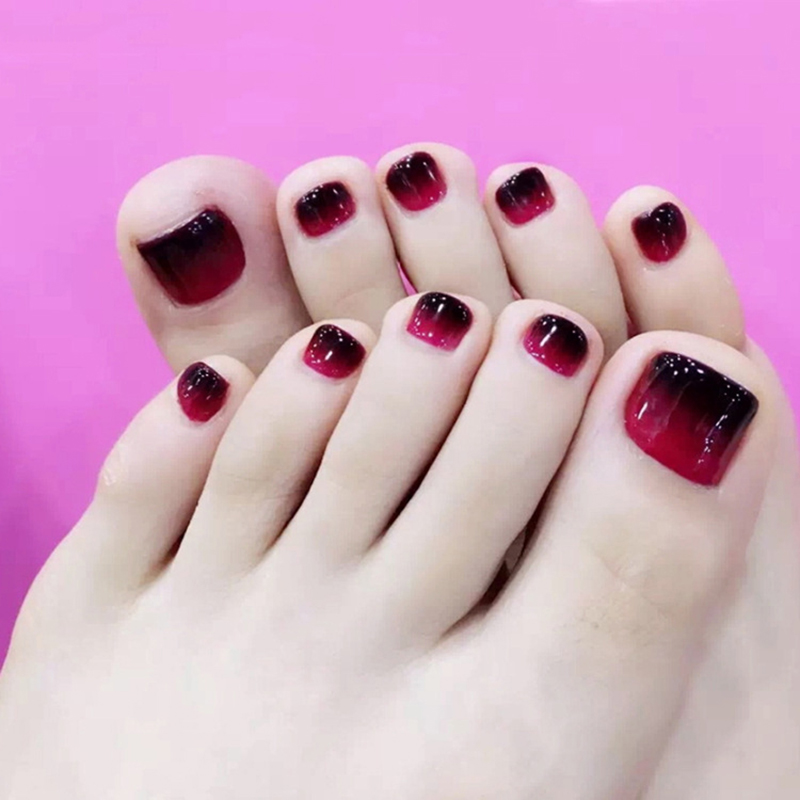 Elegant 24pcs Set Fashion Black Red Grant Design Toes Finished False Nails Full Nail Tips Patch Lady Art Tool Bride In From Beauty Health