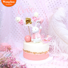 LOVE Wire Flower Garland Creative Cake Topper Princess Sweet 16 Party Theme Dessert Decoration Happy Birthday