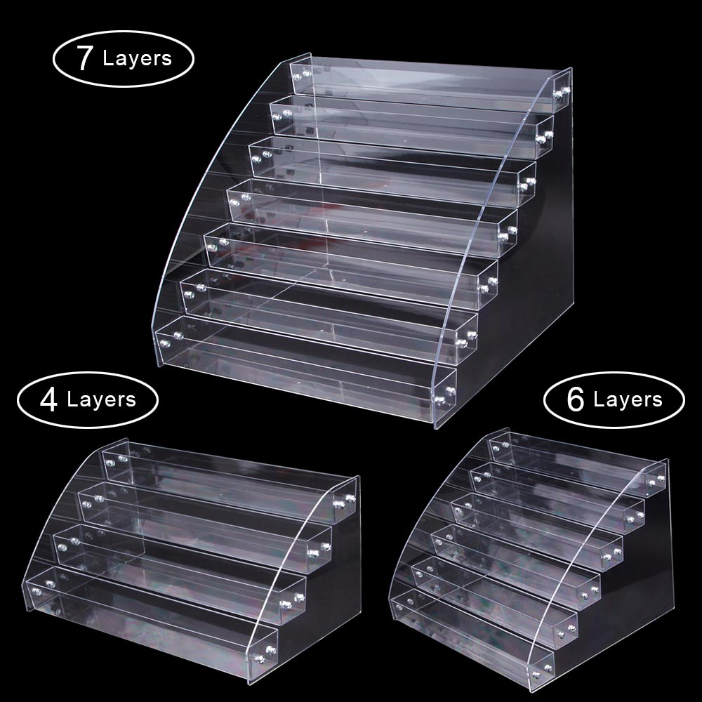 1 To 7 Tiers Nail Polish Table Rack Acrylic Clear Makeup Display Stand Organizer Holder Cosmetic Makeup Storage Lipstick Shelf
