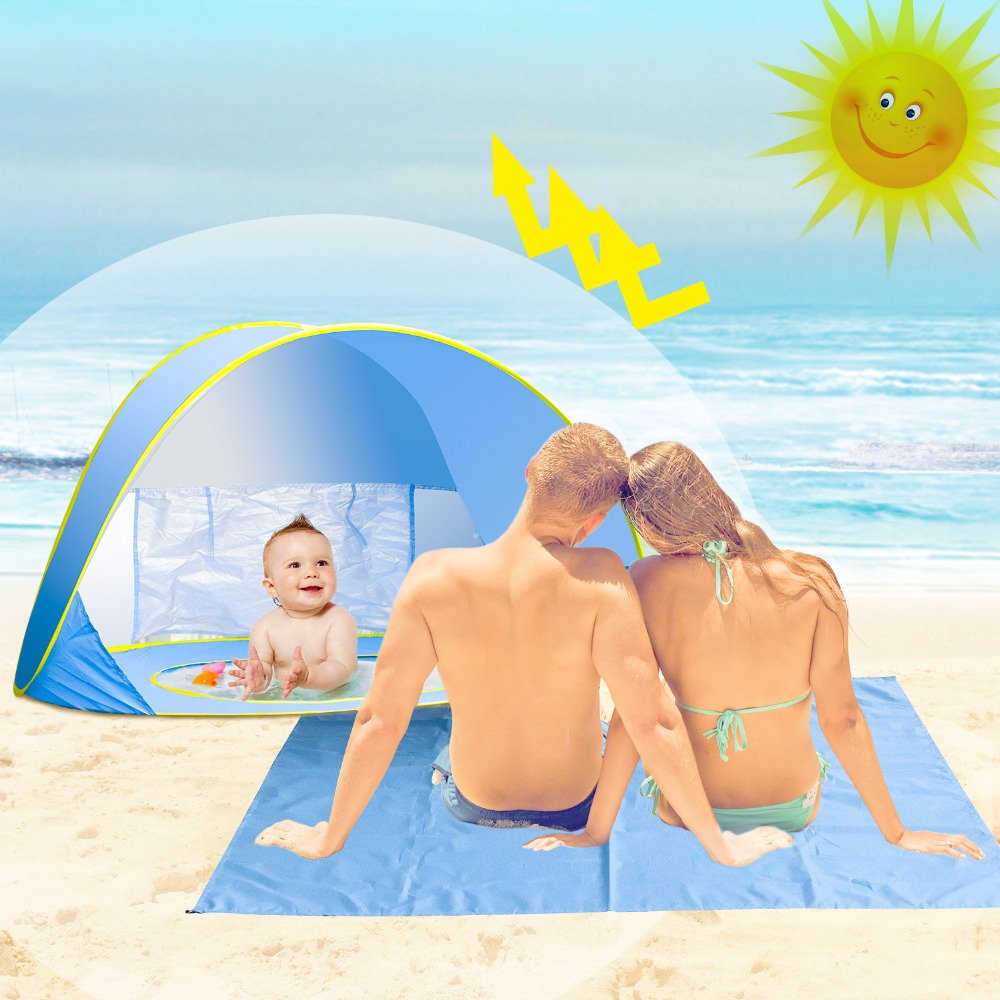 Baby Beach Tent UV Protection Waterproof Pop Up Awning Tent Sun Shelter Pool Shade Baby Pool Tent with Beach Blanket Sand Free