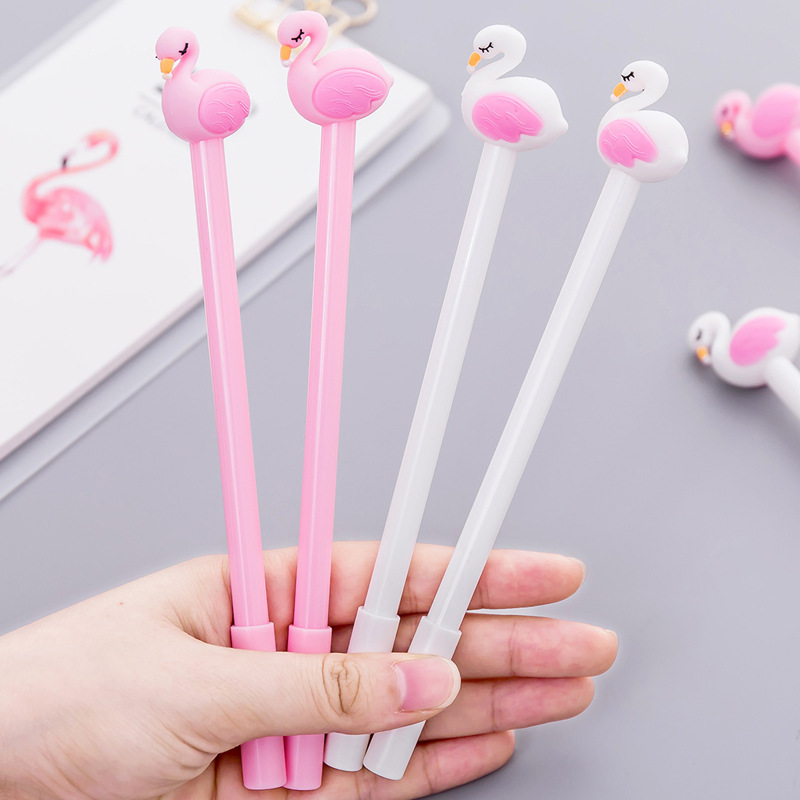 (4 pieces/lot) Kawaii Stationery Flamingo Gel Pen Cartoon Student Cute Pens