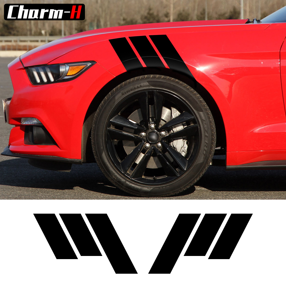 2pcs Fender Hash Stripe Racing Graphic Decal Sticker Bumper Side Scuttle Stickers for Ford Mustang 2015-2016 18.8X11
