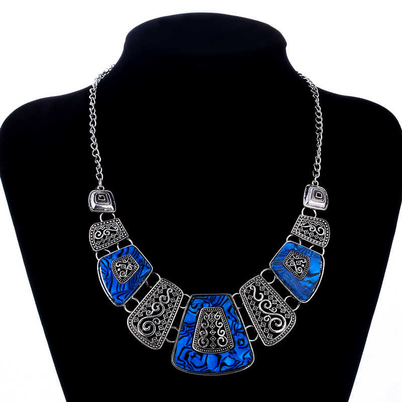 Hesiod African Tibetan silver Necklaces Women Crystal Chokers Wedding Statement Maxi Plated Bridal Link Party Dress Accessories