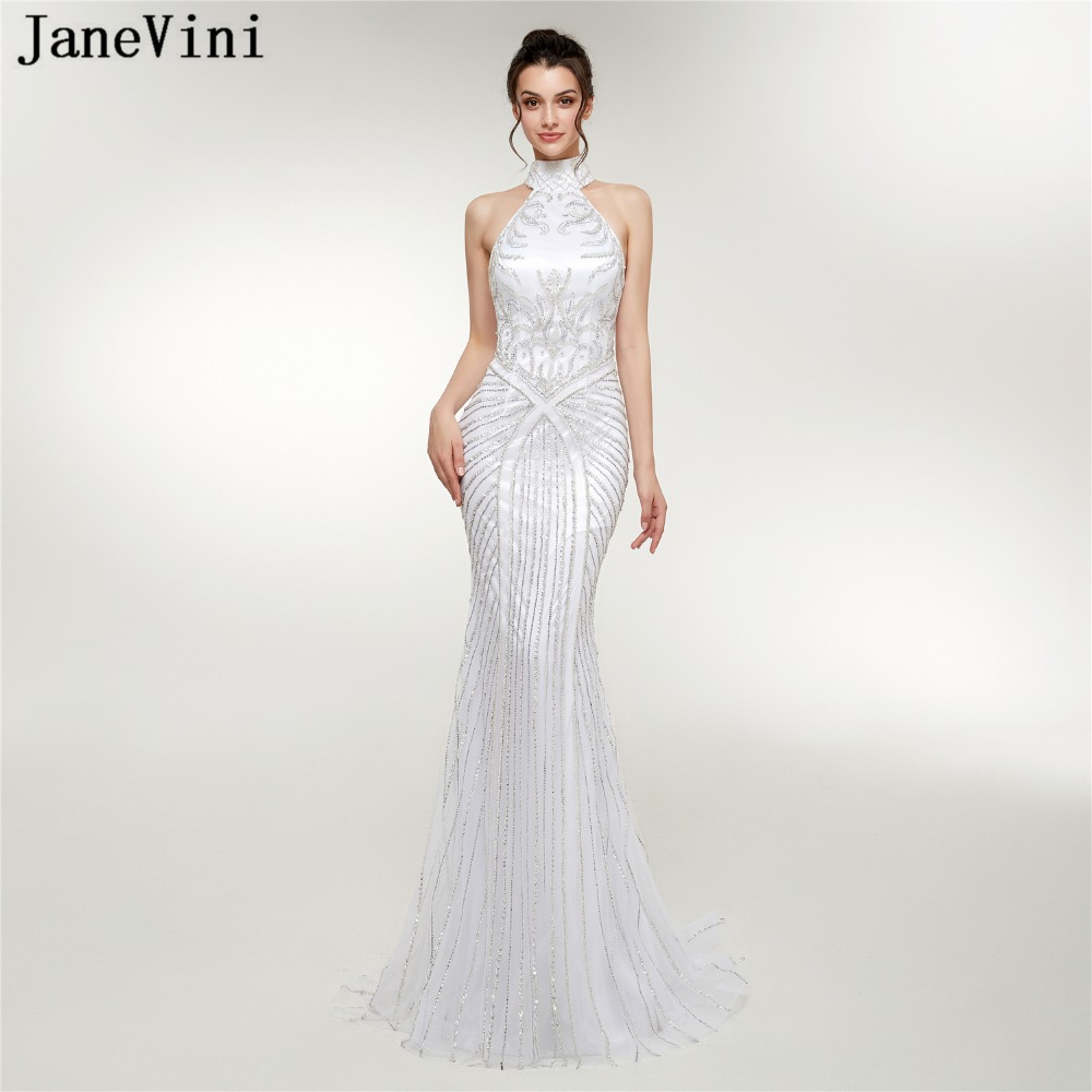 JaneVini 2018 Luxury Beaded Sequins White Tulle Long   Bridesmaid     Dresses   Mermaid High Neck Backless Formal Prom Gowns Sweep Train