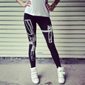 Women Cotton Punk Hiphop Style Leggings Gothic Harajuku Gun Pattern Print Slim Sexy Fitness Work out Sportwear