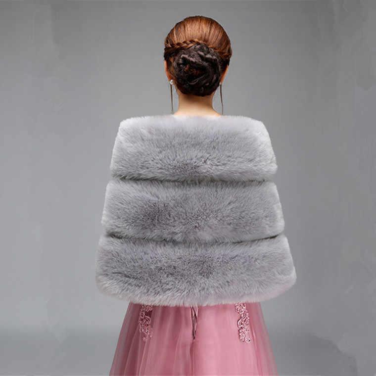 JaneVini элегантный серый Свадебный Лисий искусственный мех болеро для женщин зимняя теплая накидка шаль-накидка обертывания невесты вечернее платье аксессуары