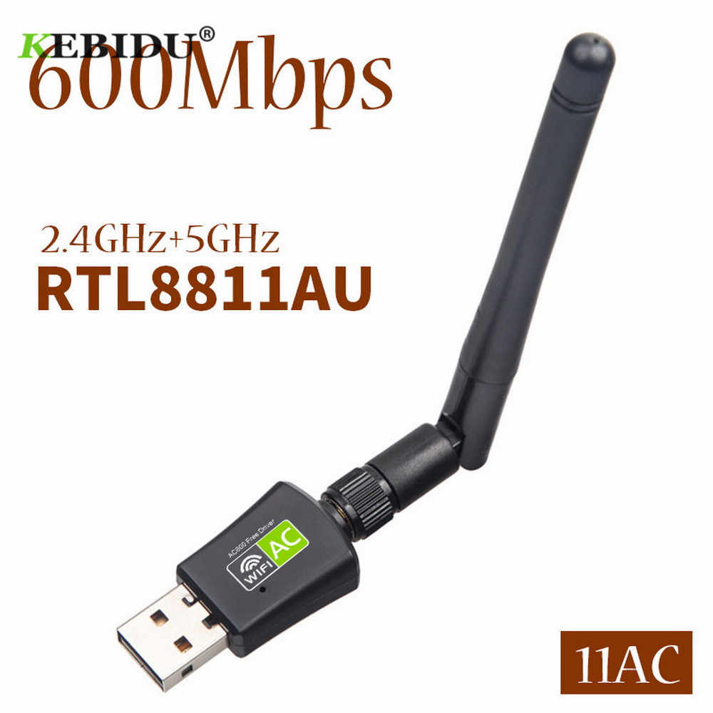 Kebidu Free Driver Network Cards Wifi Adapter USB Dual Band 600Mbps 5/2.4Ghz LAN Antenna Dongle Wifi for Win 7 8 10 RTL8811AU