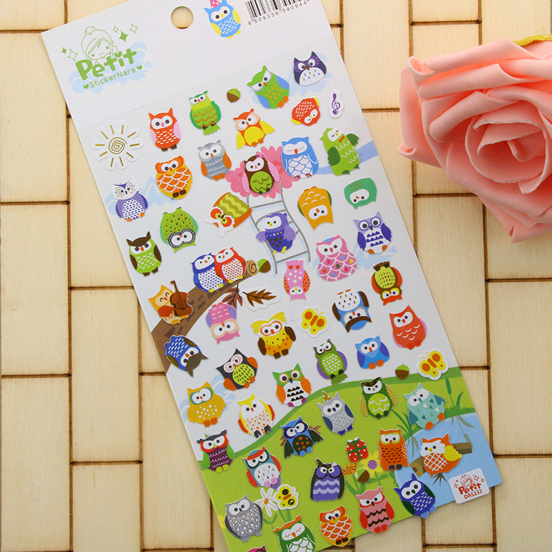 1 Pc / Pack Cute Owl Girrafe Scrapbooking Stickers Paper Craft Tags Moblie Diary Love Letters Decor # Petlt
