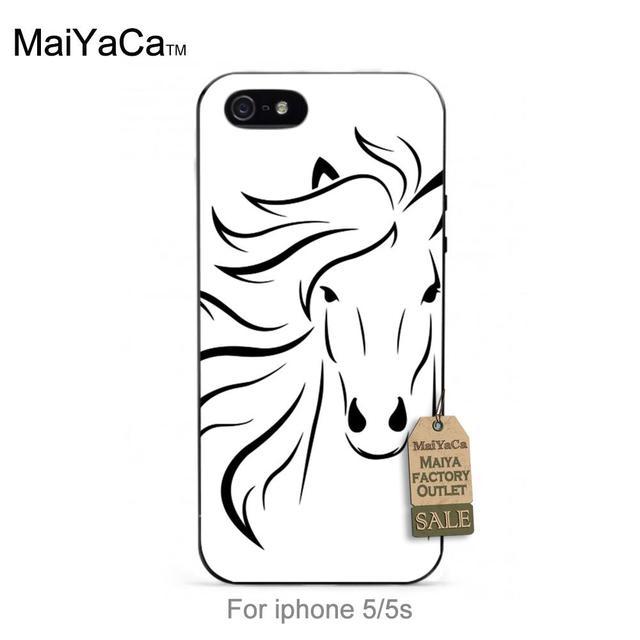 Funcionamiento del caballo blanco negro tpu para el iphone 4s 5s 5c 6 6 plus 7 más caso