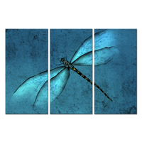 3 Pieces Canvas Wall Art Abstract Teal Blue Dragonfly Insects the Picture Animal Painting on Canvas Modern Home Wall Decoration