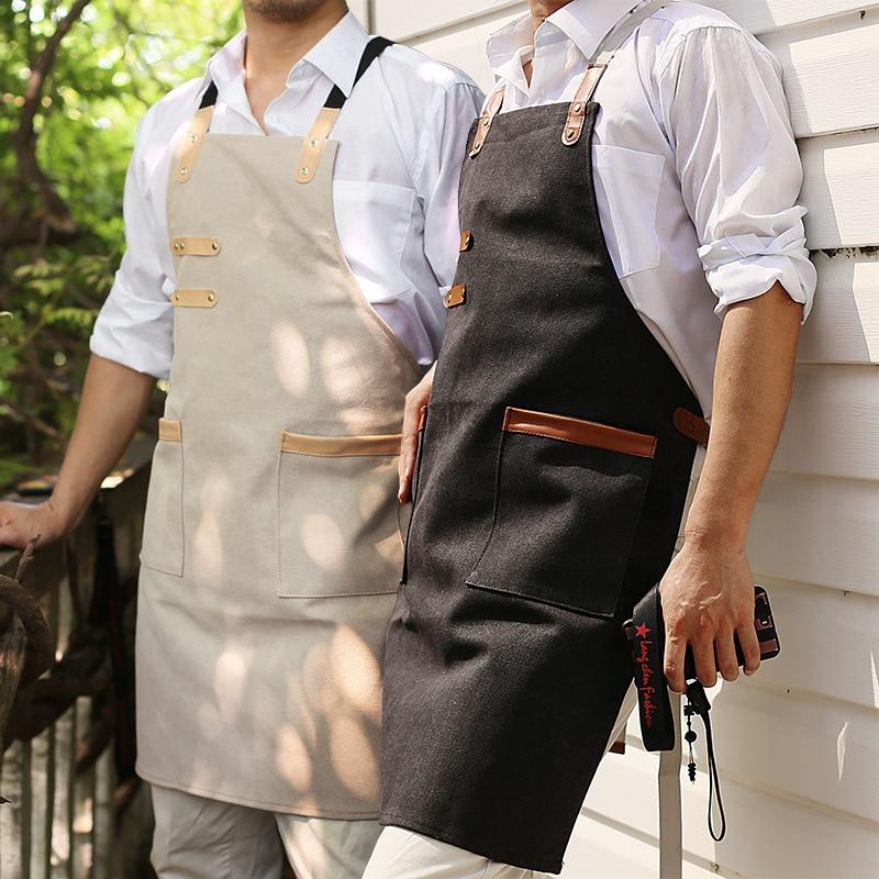 Japanse Industriële Wind Canvas Schort Gepersonaliseerde Creatieve Koffie Kapper Winkel Lederen Bakken Uniform Kleding Taille Doek