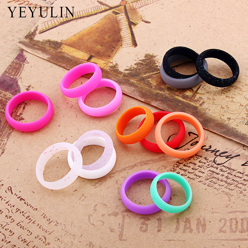 New Design Multicolor Point Environmental silicone Female Ring For Women Flexible Wedding Finger Jewelry