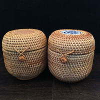 Handmade Vietnam Autumn Rattan Weaving Round Tea Tin Cans Canister Storage Rattan Boxes With Lids Candy