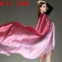 Desigual Brand Bandana Silk Scarf Stoles For Women Gradient Color Hijab Poncho Shawl Long Scarves Summer