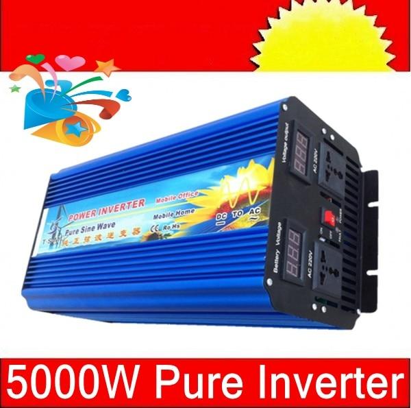 5000W Off Grid inverter 48V DC to AC 100-120V or 220-240V, Pure Sine Wave Solar Wind Power Inverter 5000W with 10000W Peak Power