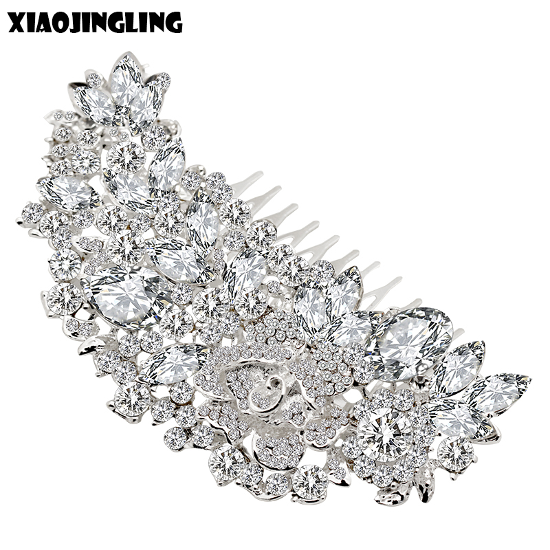 XIAOJINGLING 20Styles Crystal Bridal Hair Comb Trendy Wedding Hair Accessories Headpiece For Bridesmaid Headdress Hair Jewelry
