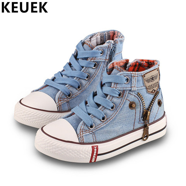 Spring Autumn Fashion Children Canvas shoes Lace-Up Casual shoes Boys Girls Flats Kids High help shoe Sneakers 043