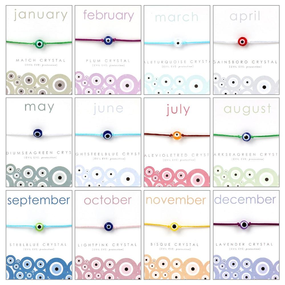 Lucky Eye 12 Months Evil Eye Bracelet Wish Card Bracelet Colorful Bead Bracelet For Women Girls Men Gift CN268