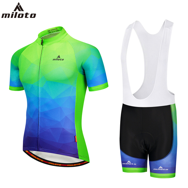 Mens Fluorescent Cycling Sets Short Sleeve 2018 Summer Bike Jersey   Shirts    Top   and White Bib Shorts With GEL Pad Reflective 6fe6f267b