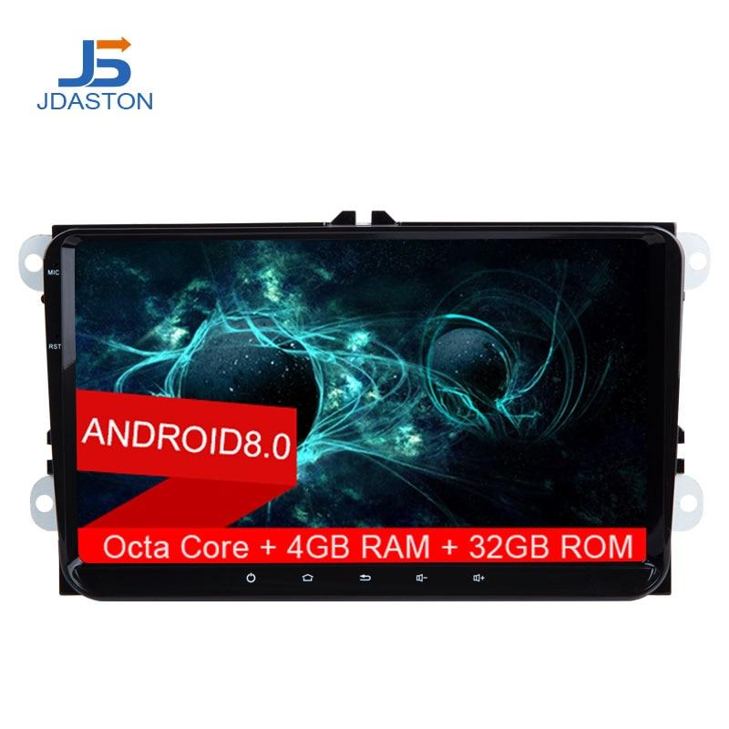 JDASTON 9 pouce 2 Din Android 8.0 Voiture Lecteur Multimédia Pour VW Volkswagen POLO PASSAT Golf Octa Cores 4g + 32g Radio GPS Navigation