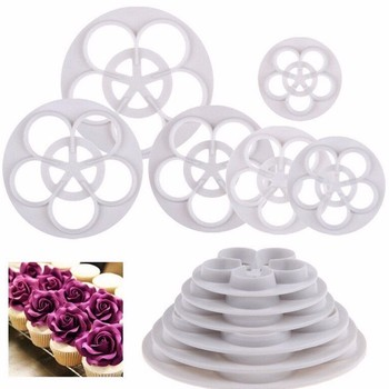 diy rose flower shaped cookie cutter mold and baking tool for cake decoration